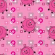 Stock Vector: Seamless pattern with cute pigs