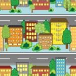 Abstract cartoon town — Stock Vector