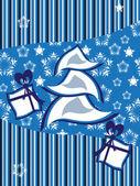 Přání s vánoční stromek a dárky — Stock vektor