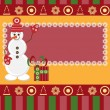 Christmas card with snowman with gift — Imagen vectorial