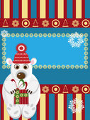 Christmas card with white bear — Vector de stock