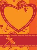 与心和蜻蜓贺卡 — 图库矢量图片
