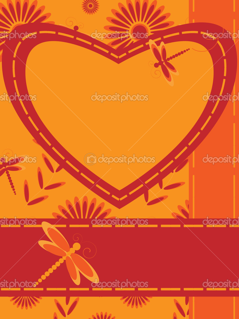Greeting card with heart and dragonfly  — Stock Vector #5859476