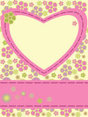 Greeting card with flowers and heart — Vecteur