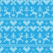 Folklore seamless pattern on blue background — Stock Vector