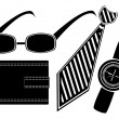 Glasses watch necktie purse set — Stock Vector