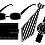 Glasses watch necktie purse set — Stock Vector #6274137