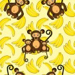 Stock Vector: Monkey and bananseamless background
