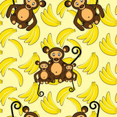 Monkey and banana seamless background — Stock Vector