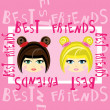 Stock Vector: Two girls best friends