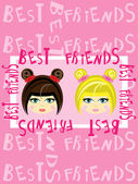 Two girls best friends — Stock Vector