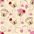 Stock Vector: Cupcake seamless pattern