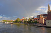 Rainbow upon Regensburg — Stock Photo