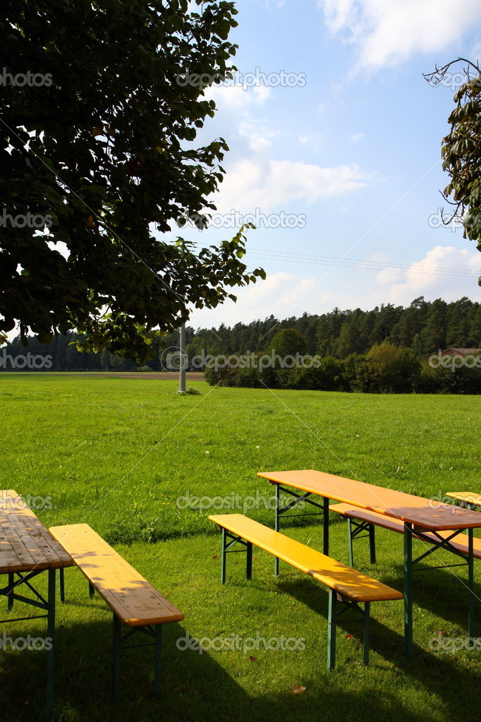A empty beer garden in a rural environment  Stock Photo #6723242