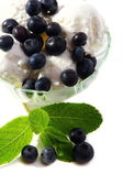 Ice cream with blueberries and mint. — Stock Photo