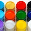 Set of acrylic paints for painting fabrics. — Zdjęcie stockowe