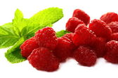 Ripe raspberries on a white background. — Stock Photo