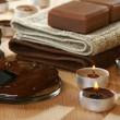 Stock Photo: Sensuality spchocolate aromatherapy items.