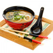 Miso soup with green onion on white background. — Stock Photo #6356493