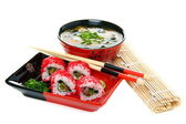 Japanese Cuisine - rolls and miso soup on a white background. — Stock Photo