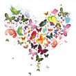 Butterfly heart, valentine illustration. Element for design — Imagen vectorial