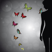 Woman silhouette with colorful butterfly — Vector de stock