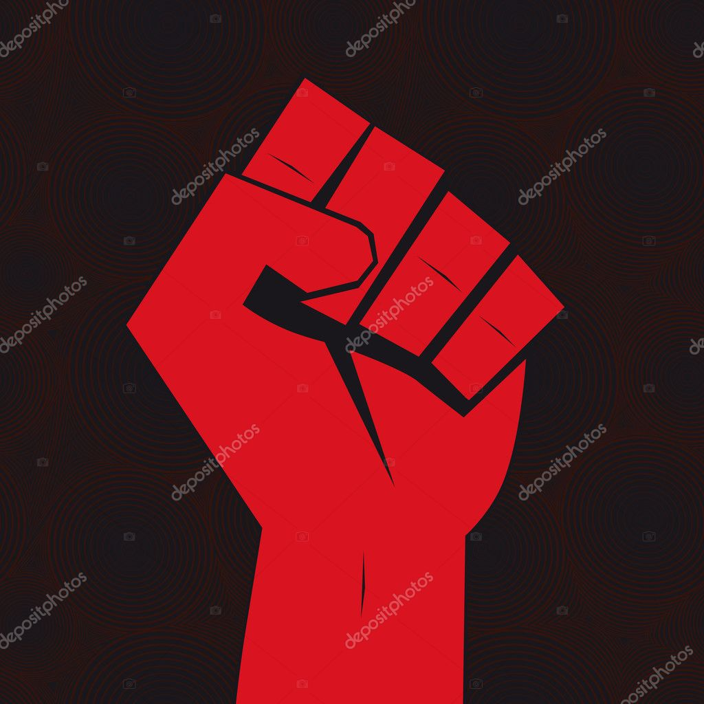 Clenched fist hand held high in protest on seamless background. — Stock Vector #5597847