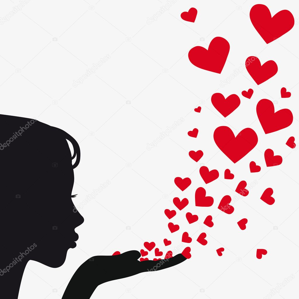 Woman silhouette hand. Pretty girl blowing heart. Drawing background. Vector illustration. — ベクター素材ストック #5597852