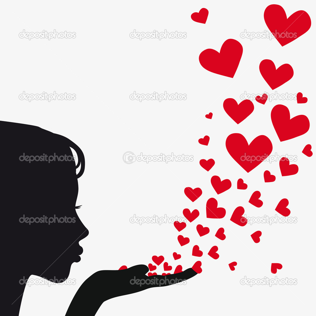 Woman silhouette hand. Pretty girl blowing heart. Drawing background. Vector illustration. — Imagens vectoriais em stock #5597852