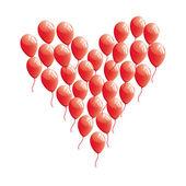 Red abstract heart balloon — Stock Vector