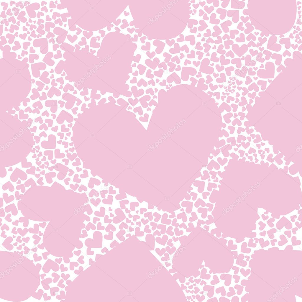 Abstract background, pink pattern heart seamless vector texture. Valentine day illustration. Cute graphic art wallpaper. Romantic ornament. — Stock Vector #5907039