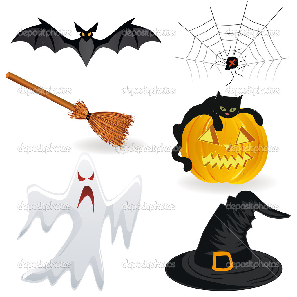 Halloween icon, pumpkin vector. Hat, bat, spider, broom, ghost.  — Stock Vector #6375136