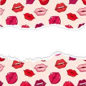 Patrón inconsútil rasgado, impresión de labios. — Vector de stock