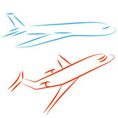 Flying airplane, vector illustration. — Stock Vector