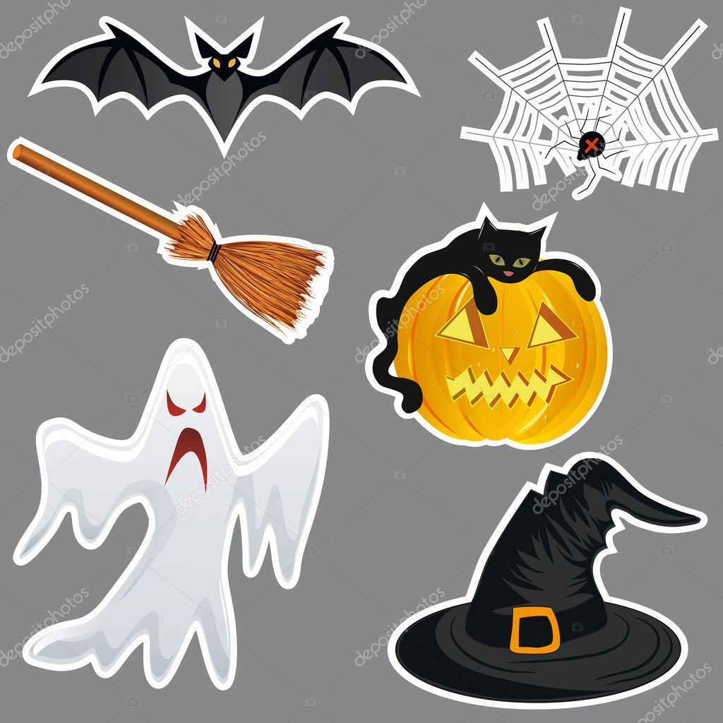 Halloween stickers, pumpkin vector. Hat, bat, spider, broom, ghost. — Stock Vector #6412881