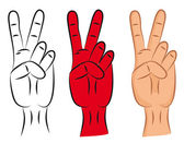 Hand - victory sign — Stock Vector