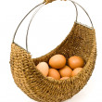 Woven basket full of eggs — Stock Photo #5414041
