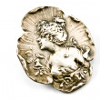 Antique silver brooch with woman's profile — Stock Photo #5418316