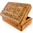 Open wooden casket with carved lid from India — Stock Photo