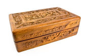 Wooden carved casket from India — Stock Photo