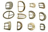 Twelve old belt buckles — Stock Photo