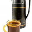 Cup of coffee with black thermos — Stock Photo #6165745