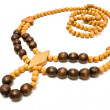 Necklace with wooden beads — Stock Photo