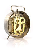 Inside mechanism of old alarm clock — Foto Stock