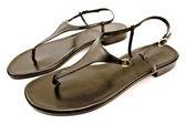 Black leather women's sandal shoe — Stock Photo