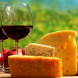 Cheese and two goblets blame close-up — Stock fotografie