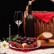Bottle blame,bread and fruits - Stock Photo