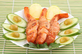Roasted fish with vegetable — Stockfoto