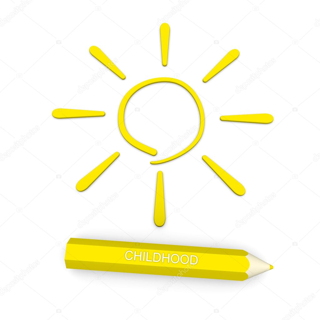 In pencil sign of the sun - a symbol of childhood  Stock Photo #5610449