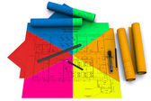 Compass, ruler and pencil on multicolor architectural drawings — Stock Photo